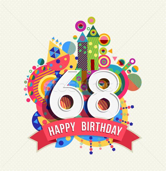 お誕生日おめでとうございます 年 グリーティングカード ポスター 色 60 ストックフォト © cienpies