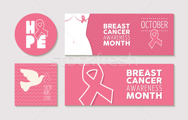 Banners and labels set for breast cancer awareness Stock photo © cienpies