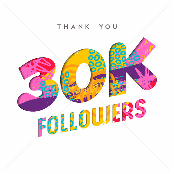 30k internet follower number thank you template Stock photo © cienpies