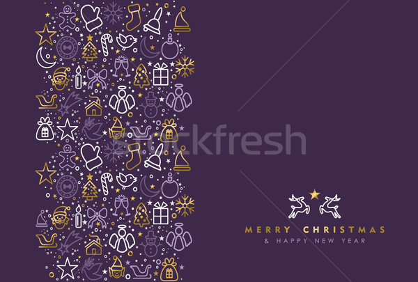 Stock photo: Gold Christmas holiday line art icon greeting card