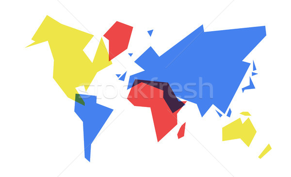 ストックフォト: カラフル · 世界地図 · 抽象的な · 幾何 · 実例 · 単純な