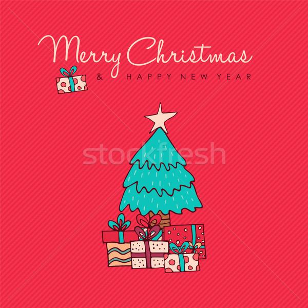 Noel yılbaşı kırmızı çam ağacı karalama kart Stok fotoğraf © cienpies