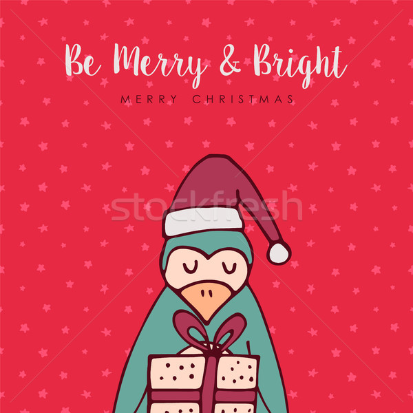 陽気な クリスマス 赤 ペンギン 漫画 グリーティングカード ストックフォト © cienpies