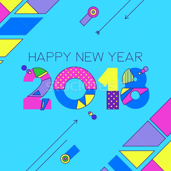 Happy new year couleur 80 nombre carte de vœux rétro Photo stock © cienpies