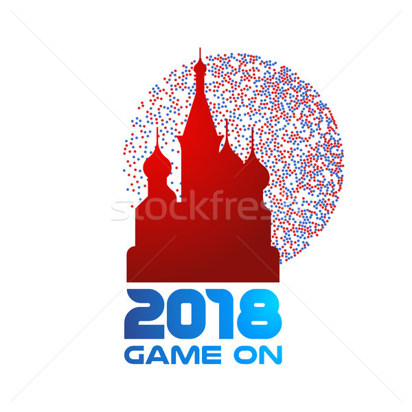Russia landmark church with 2018 typography quote Stock photo © cienpies