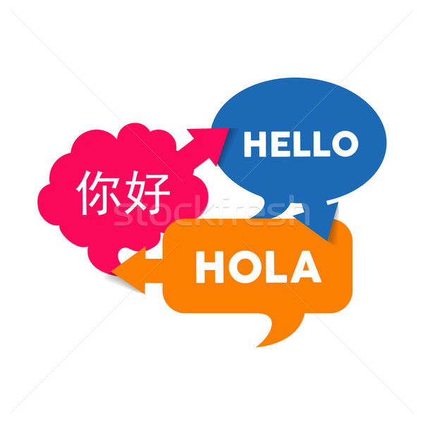 Bolha conversar texto tradução estrangeiro Foto stock © cienpies