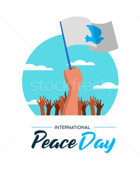 Poster of people parade for World Peace Stock photo © cienpies