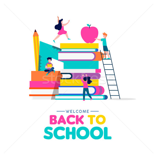 Back to school concept of kids playing with books Stock photo © cienpies