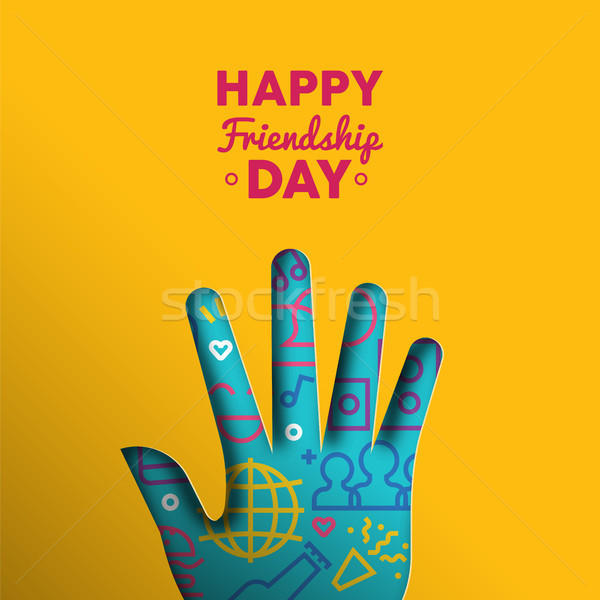 Happy Friendship Day paper cut hand shape card Stock photo © cienpies