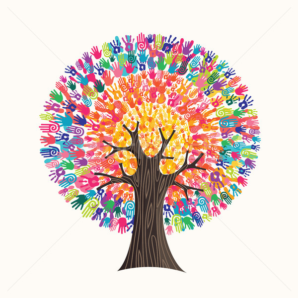 Colorful hand print tree concept for social help Stock photo © cienpies