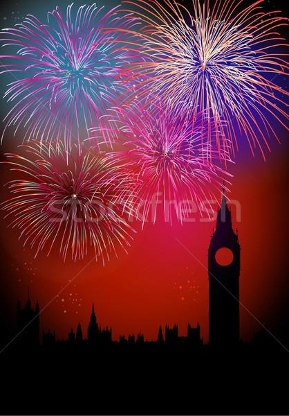 Stockfoto: Gelukkig · nieuwjaar · vuurwerk · Londen · Big · Ben · toren · silhouet