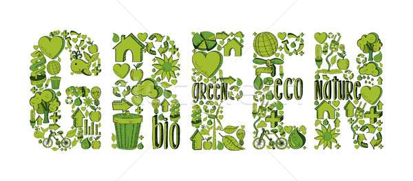 Stock photo: Green word with environmental icons