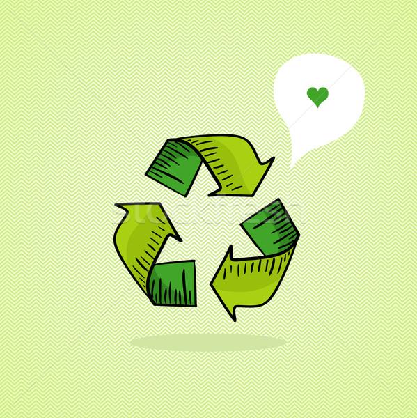 Schets stijl recycleren icon groene Stockfoto © cienpies