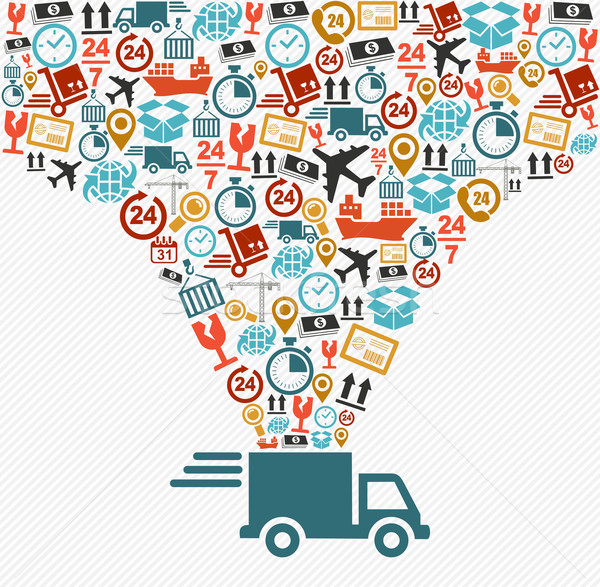 Shipping icons set Fast delivery truck concept illustration. Stock photo © cienpies
