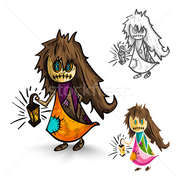 Halloween monsters isolated sketch style witches set. Stock photo © cienpies