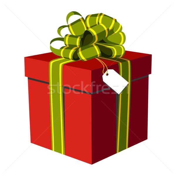 Foto stock: Vermelho · caixa · de · presente · verde · dourado · fita · ilustração