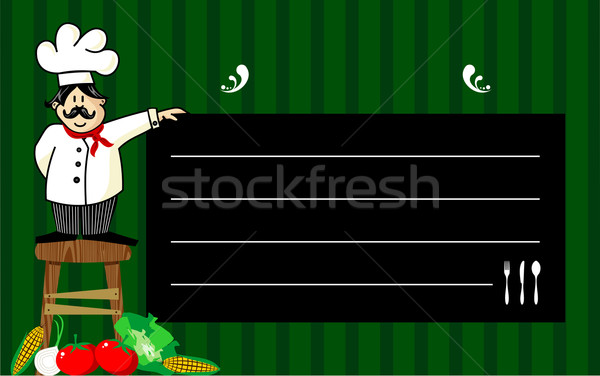повар доске смешные скамейке Сток-фото © cienpies