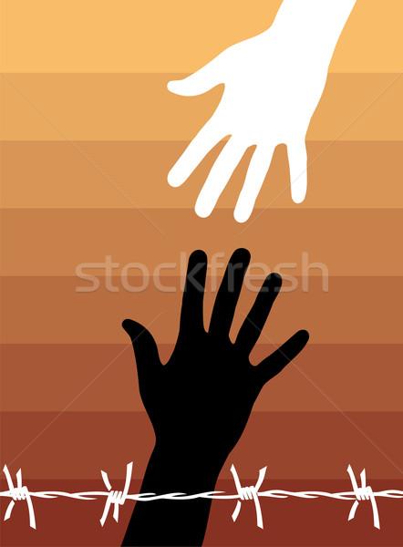 Insan hakları el helping arkasında dikenli tel vektör Stok fotoğraf © cienpies