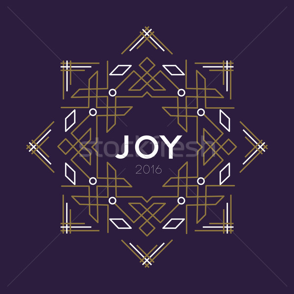 Happy new year 2016 frame art deco joy card line Stock photo © cienpies