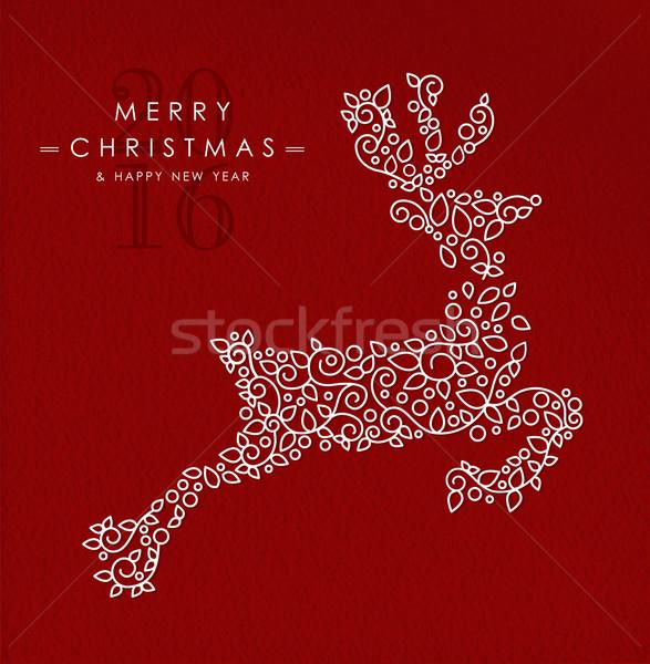 Vrolijk christmas gelukkig nieuwjaar schets herten 2016 Stockfoto © cienpies