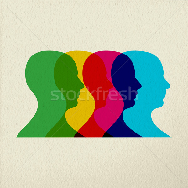 People profile silhouettes mind concept design Stock photo © cienpies