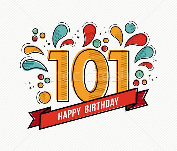 Stockfoto: Kleur · gelukkige · verjaardag · aantal · 101 · lijn · ontwerp