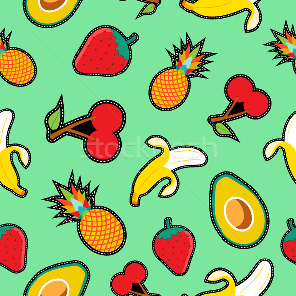 Fruit seamless background with cartoon designs Stock photo © cienpies