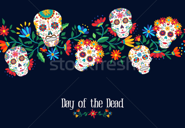 Day of the dead flower skull background design Stock photo © cienpies