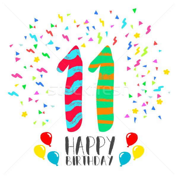 Feliz cumpleaños año tarjeta número tarjeta de felicitación Foto stock © cienpies