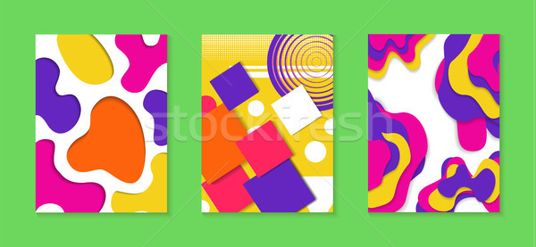 Abstract paper cut color background collection Stock photo © cienpies