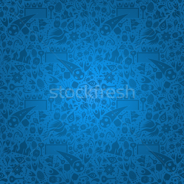 Blue Russia background with russian icons Stock photo © cienpies