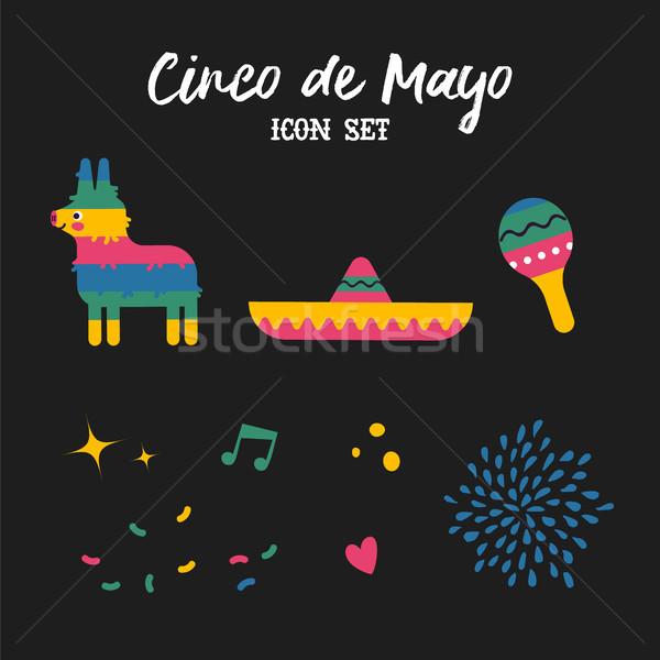 Cinco de mayo mexican culture decoration set Stock photo © cienpies