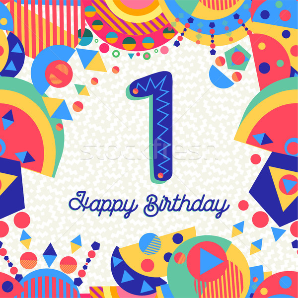 One 1 year birthday party greeting card number Stock photo © cienpies
