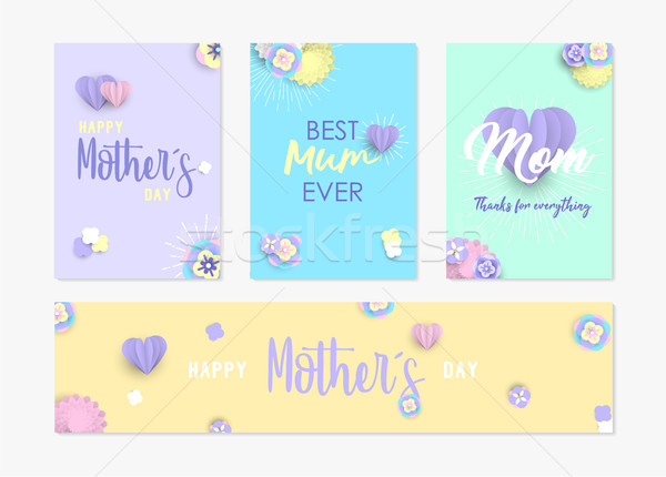 Mother day card and label set of paper flowers Stock photo © cienpies