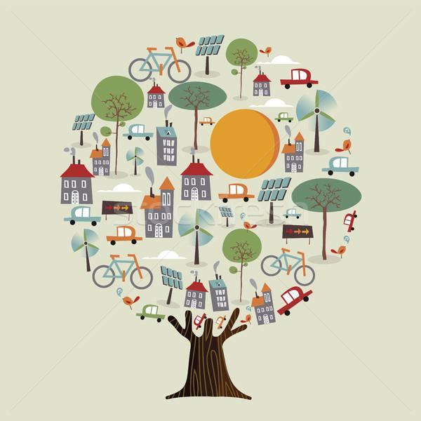 Boom milieuvriendelijk duurzaam stad groene aarde Stockfoto © cienpies