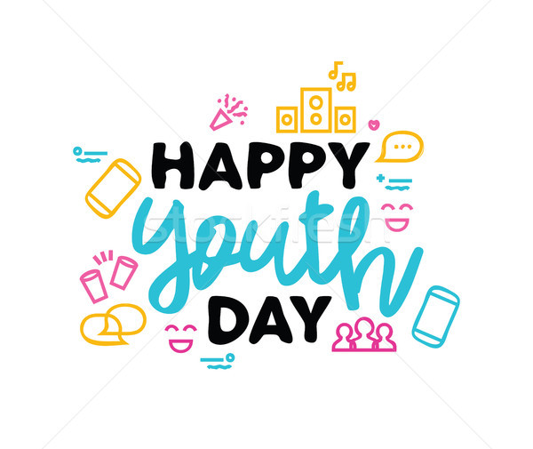 Happy Youth Day typography quote greeting card Stock photo © cienpies