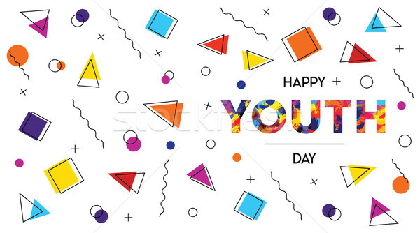 Feliz juventude dia abstrato retro bandeira Foto stock © cienpies