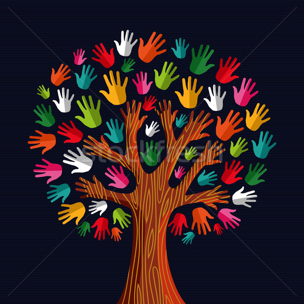 Sociale solidarité arbre mains coloré diversité Photo stock © cienpies