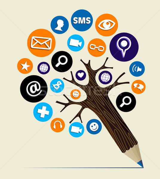 Marketing web concept pencil tree Stock photo © cienpies