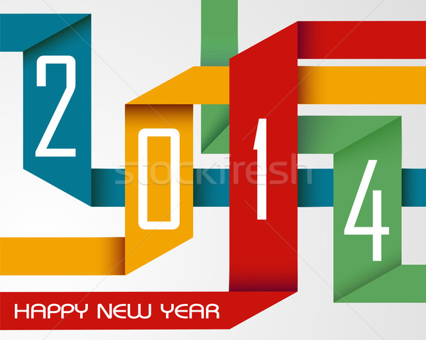 Happy New Year 2014 colorful ribbons Stock photo © cienpies