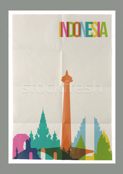 Travel Indonesia landmarks skyline vintage poster Stock photo © cienpies
