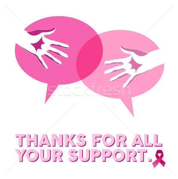 Brustkrebs Bewusstsein sozialen Unterstützung Hände Medien Stock foto © cienpies