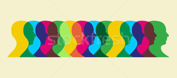 Veelkleurig sociale wisselwerking meervoudig menselijke illustratie Stockfoto © cienpies