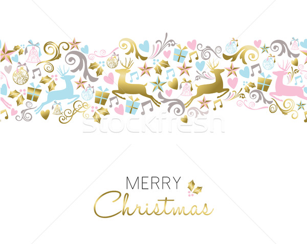 Christmas decoration and ornament pattern in gold Stock photo © cienpies