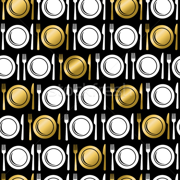 Gold food utensil icons seamless pattern Stock photo © cienpies