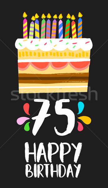 Joyeux anniversaire carte cinquième année gâteau nombre Photo stock © cienpies
