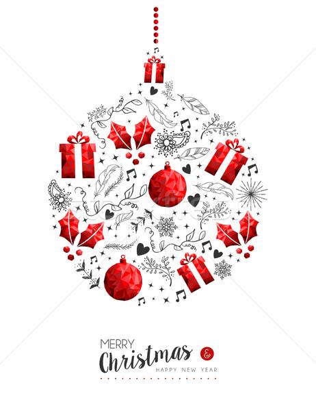 Rouge Noël nouvelle année babiole décoration joyeux Photo stock © cienpies