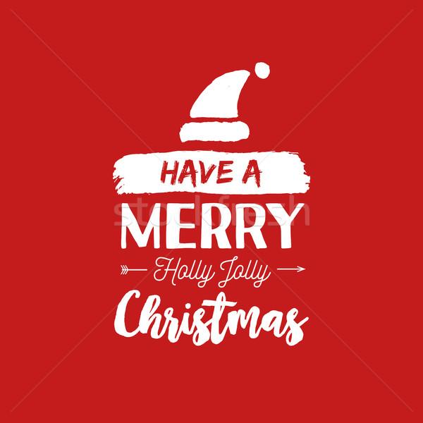 Christmas quote calligraphy santa illustration Stock photo © cienpies