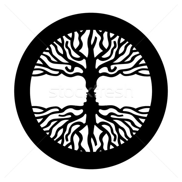 Opposite man face in human concept tree symbol  Stock photo © cienpies