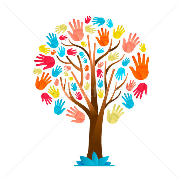 Colorful hand tree for cultural diversity team Stock photo © cienpies